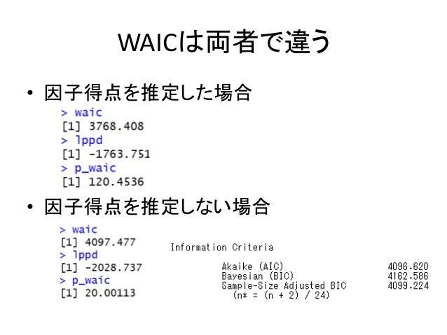 WAICは両者で違う • 因子得点を推定した場合 • 因子得点を推定しない場合
