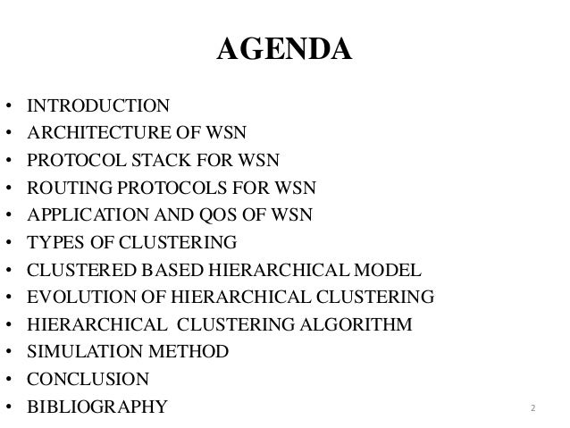 Hierarchical clustering algo for wsn Slide 2