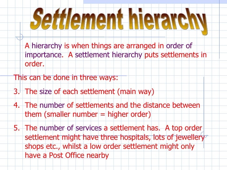 Settlement hierarchy <ul><li>A  hierarchy  is when things are arranged in  order of importance .  A  settlement hierarchy ...