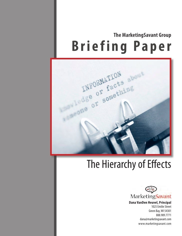 The MarketingSavant Group         The MarketingSavant GroupBriefing Paper  The Hierarchy of Effects               Dana Van...