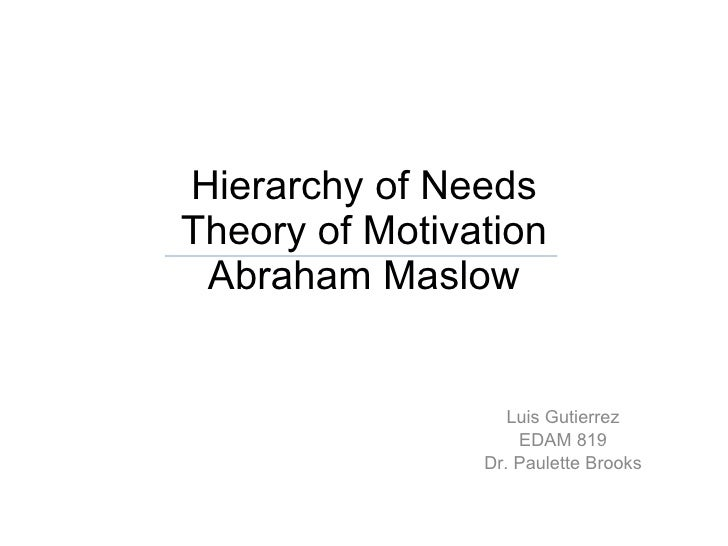 Hierarchy of Needs Theory of Motivation Abraham Maslow Luis Gutierrez EDAM 819 Dr. Paulette Brooks