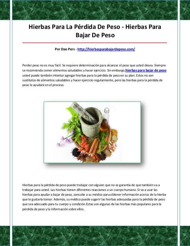 Hierbas Para La Pérdida De Peso - Hierbas Para                    Bajar De Peso___________________________________________...