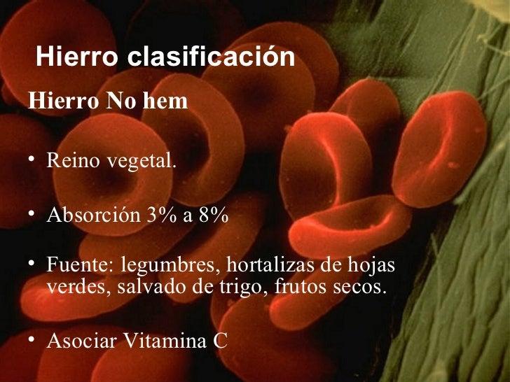 Hierro clasificación <ul><li>Hierro No hem </li></ul><ul><li>Reino vegetal.  </li></ul><ul><li>Absorción 3% a 8%  </li></u...
