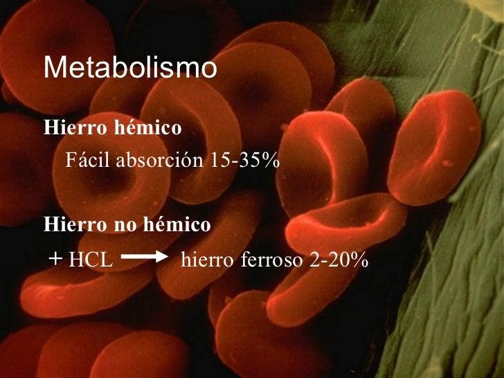 <ul><li>Hierro hémico  </li></ul><ul><li>Fácil absorción 15-35% </li></ul><ul><li>Hierro no hémico   </li></ul><ul><li>+  ...