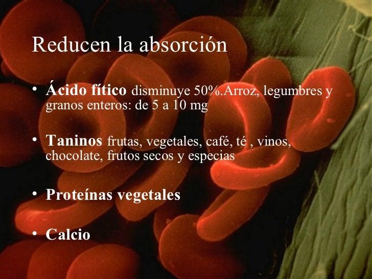 Reducen la absorción <ul><li>Ácido fítico   disminuye 50%.Arroz, legumbres y granos enteros: de 5 a 10 mg  </li></ul><ul><...