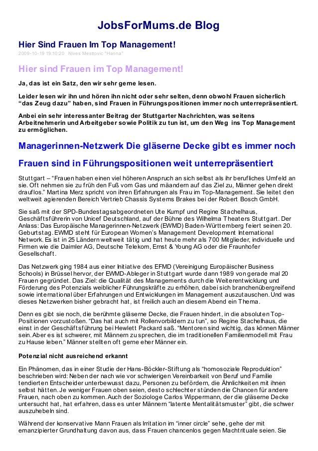 """JobsForMums.de Blog Hier Sind Frauen Im Top Management! 2009-10-19 19:10:20 Nives Mestrovic """"Hanna"""" Hier sind Frauen im To..."""