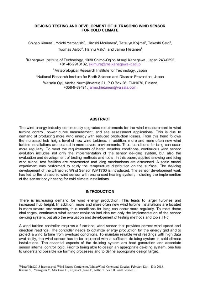 DE-ICING TESTING AND DEVELOPMENT OF ULTRASONIC WIND SENSOR                                  FOR COLD CLIMATE         Shige...