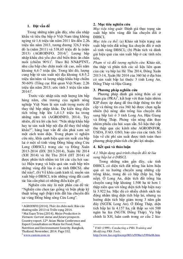 Hieu qua san  xuat bap lai tren dat lua Dong bang song Cuu Long-TS. Ho Cao Viet Slide 2