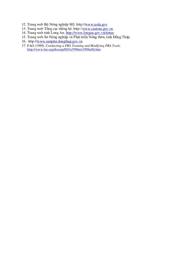 12. Trang web Bộ Nông nghiệp Mỹ. http://www.usda.gov 13. Trang web Tổng cục thống kê. http://www.custom.gov.vn 14. Trang w...