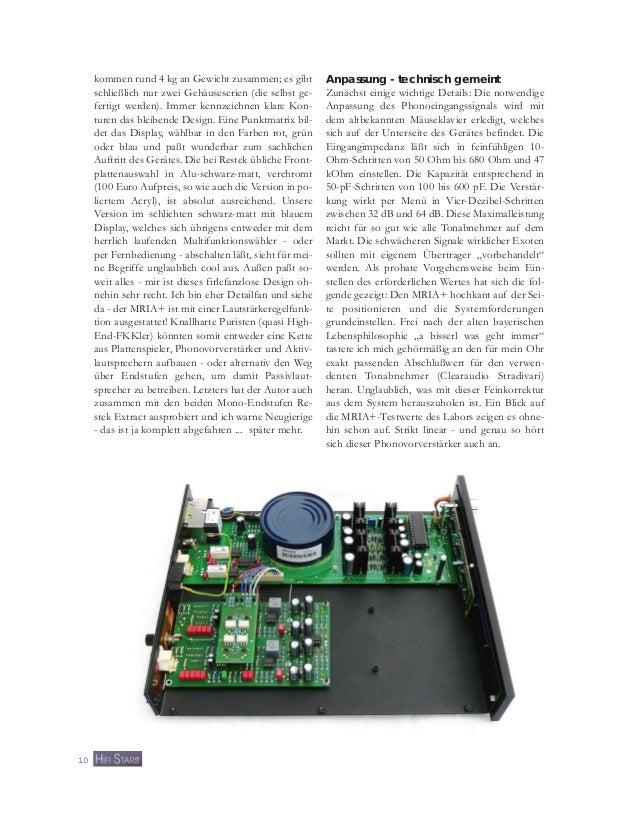 Testbericht RESTEK MRIA+ Phonovorverstärker in HIFI STARS Dezember 2010 Slide 3