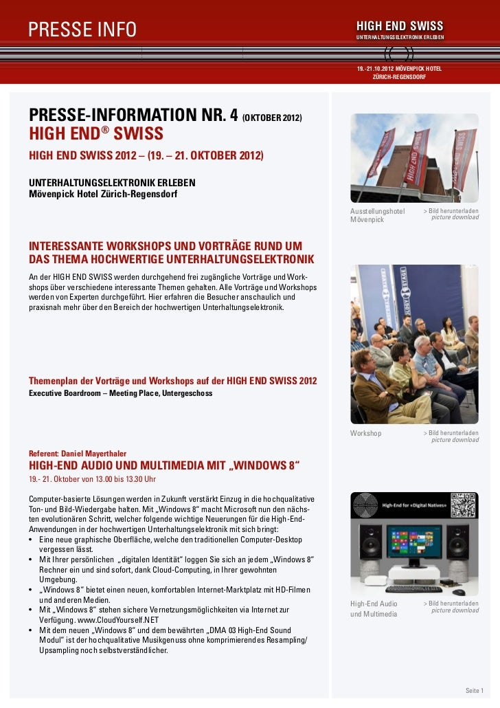 PRESSE INFO                                                                                HIGH END SWISS                 ...