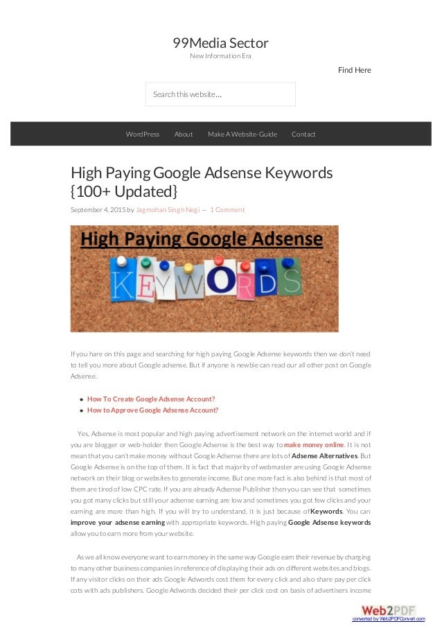 99MediaSector New Information Era FindHere Searchthiswebsite… High PayingGoogle Adsense Keywords {100+ Updated} September4...