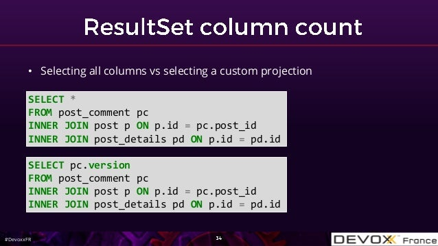#DevoxxFR SELECT * FROM post_comment pc INNER JOIN post p ON p.id = pc.post_id INNER JOIN post_details pd ON p.id = pd.id ...