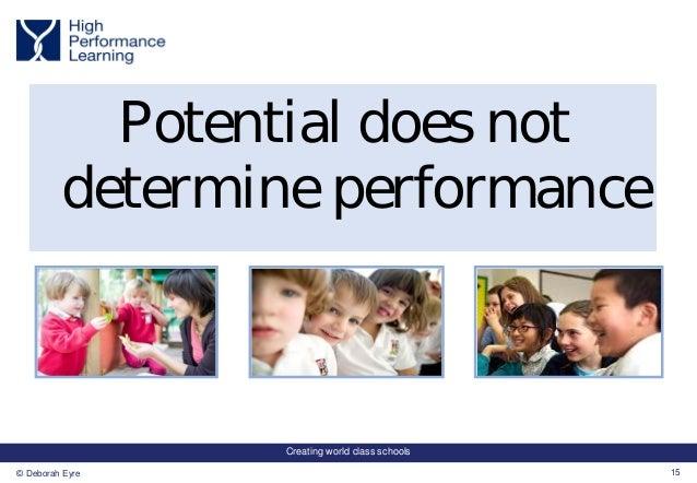 Creating world class schools 15© Deborah Eyre Potential does not determine performance