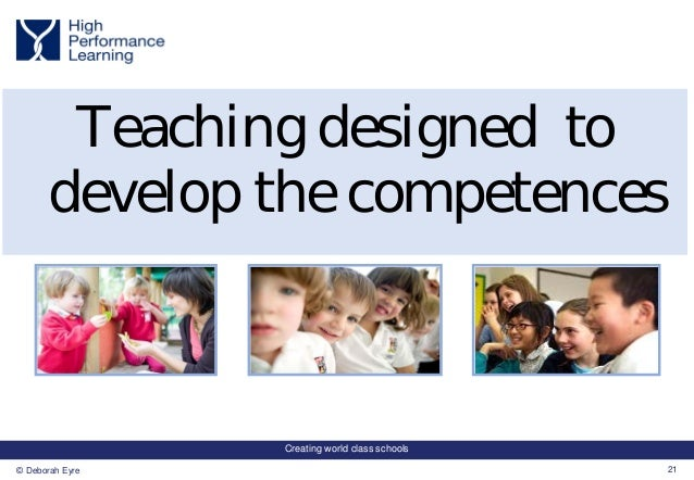 Creating world class schools 21© Deborah Eyre Teaching designed to develop the competences