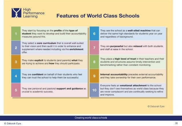 Creating world class schools 33© Deborah Eyre