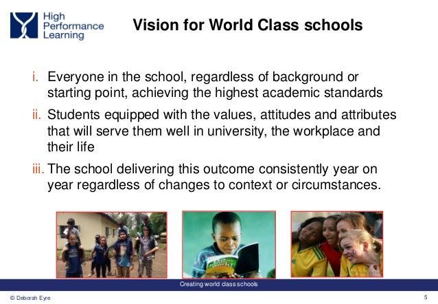 Creating world class schools 5© Deborah Eyre Vision for World Class schools i. Everyone in the school, regardless of backg...