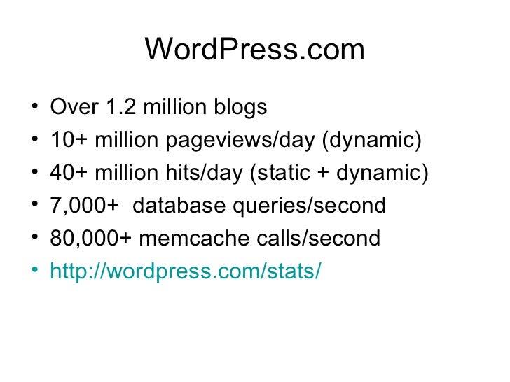 WordPress.com <ul><li>Over 1.2 million blogs </li></ul><ul><li>10+ million pageviews/day (dynamic) </li></ul><ul><li>40+ m...