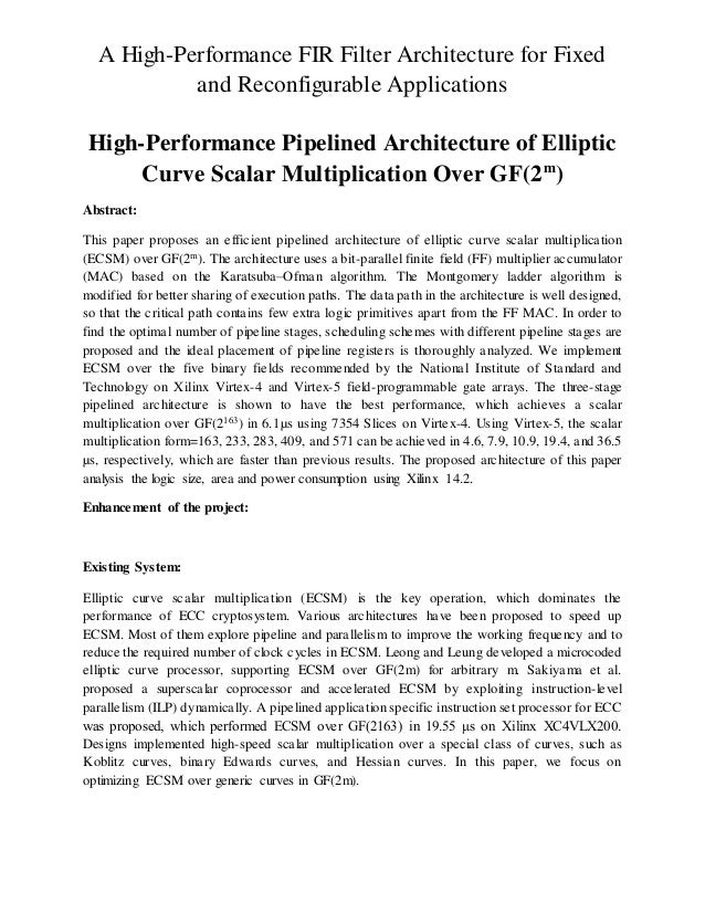 A High-Performance FIR Filter Architecture for Fixed and Reconfigurable Applications High-Performance Pipelined Architectu...