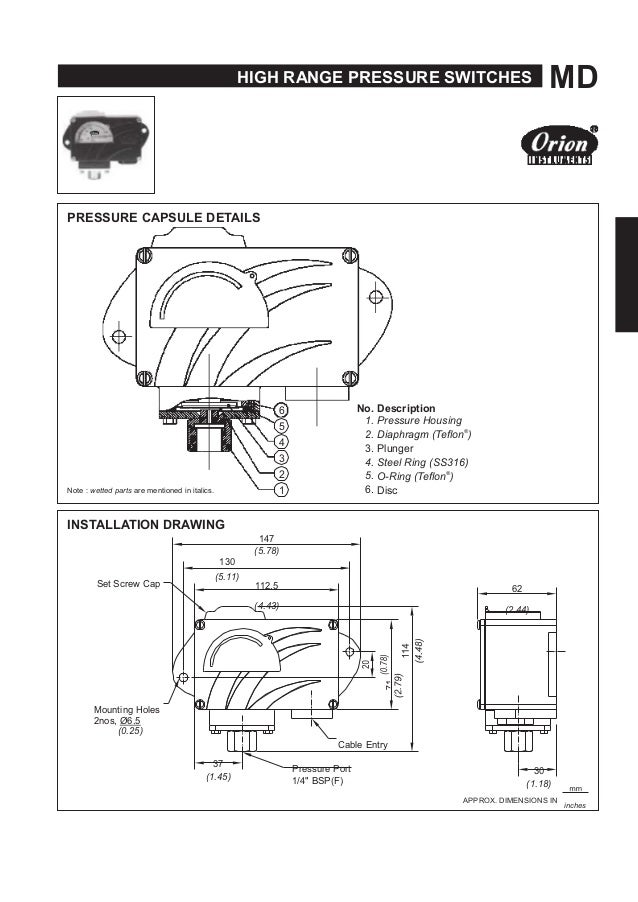 HIGH RANGE PRESSURE SWITCHES MD PRESSURE CAPSULE DETAILS 6 5 4 3 2 Note : wetted parts are mentioned in italics. 1 INSTALL...