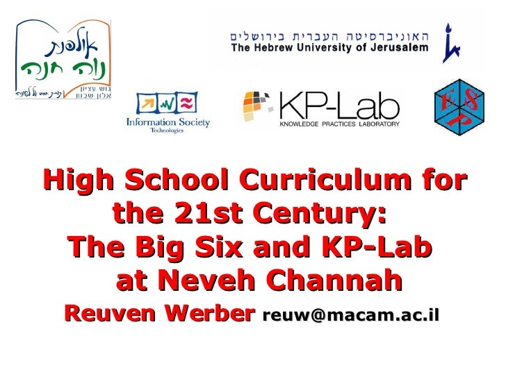 High School Curriculum for the 21st Century :   The Big Six and KP-Lab   at Neveh Channah Reuven Werber   [email_address]