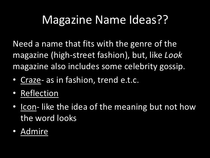 Fashion Beauty Name Ideas: High Street Fashion Magazine Pitch