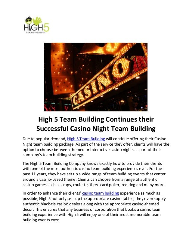 High 5 Team Building Continues their Successful Casino Night Team Building Due to popular demand, High 5 Team Building wil...