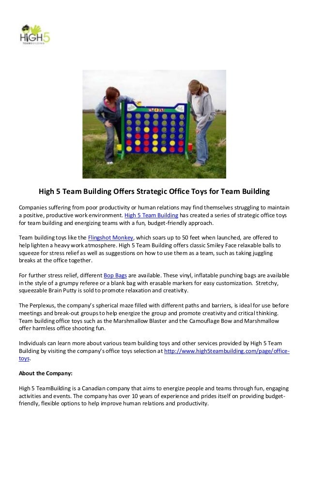High 5 Team Building Offers Strategic Office Toys for Team BuildingCompanies suffering from poor productivity or human rel...