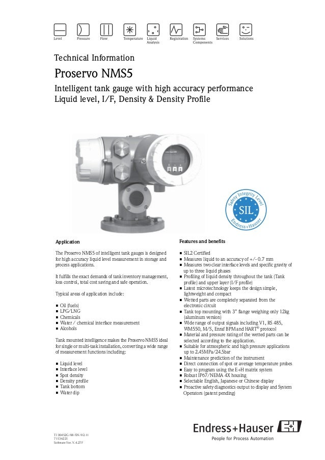 TI 00452G/08/EN/02.1171136221Software Ver. V.4.27FTechnical InformationProservo NMS5Intelligent tank gauge with high accur...