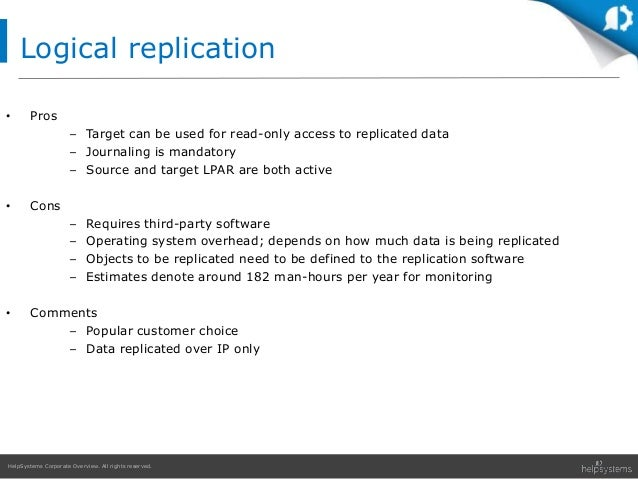 HelpSystems Corporate Overview. All rights reserved. • Pros – Target can be used for read-only access to replicated data –...