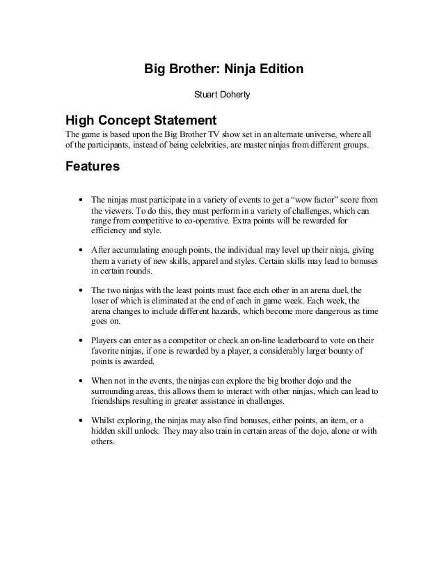 Game Design High Concept Document Template