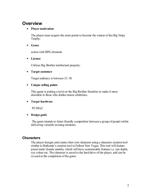 High concept document Slide 2