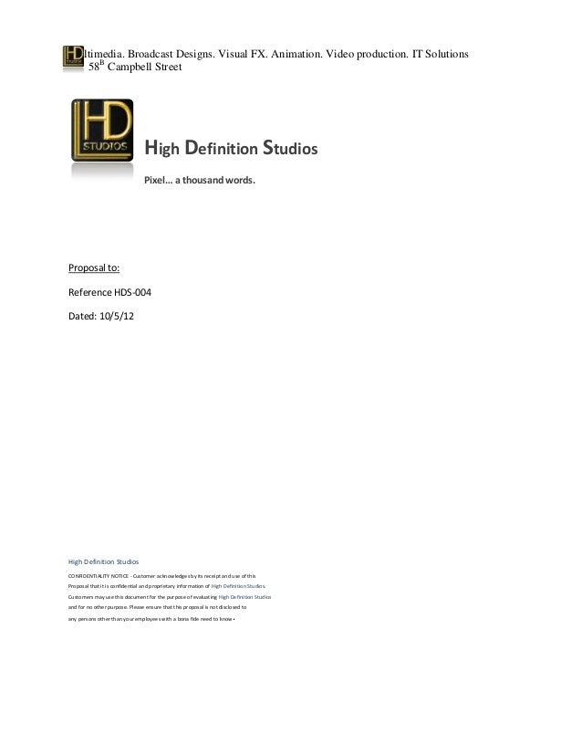 High definition studios sample proposal