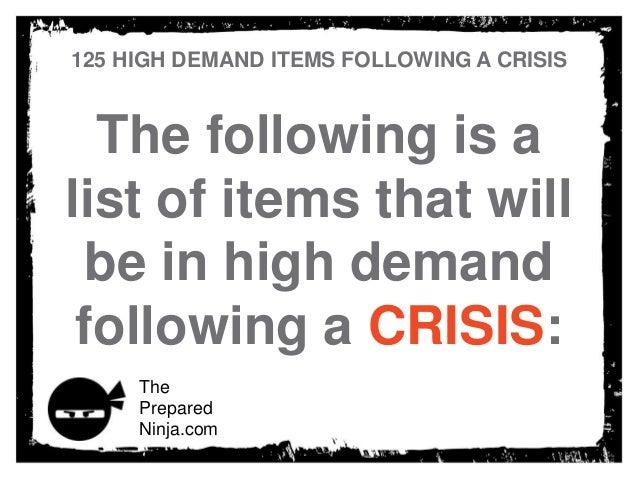 125 high demand items following a crisis
