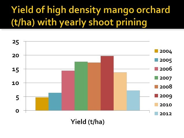  Possible strategy  Planting at a spacing of 5 m x 5 m  Shoot pruning in alternate years when fruiting is not expected