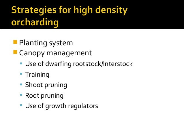  Planting system  Canopy management  Use of dwarfing rootstock/Interstock  Training  Shoot pruning  Root pruning  U...
