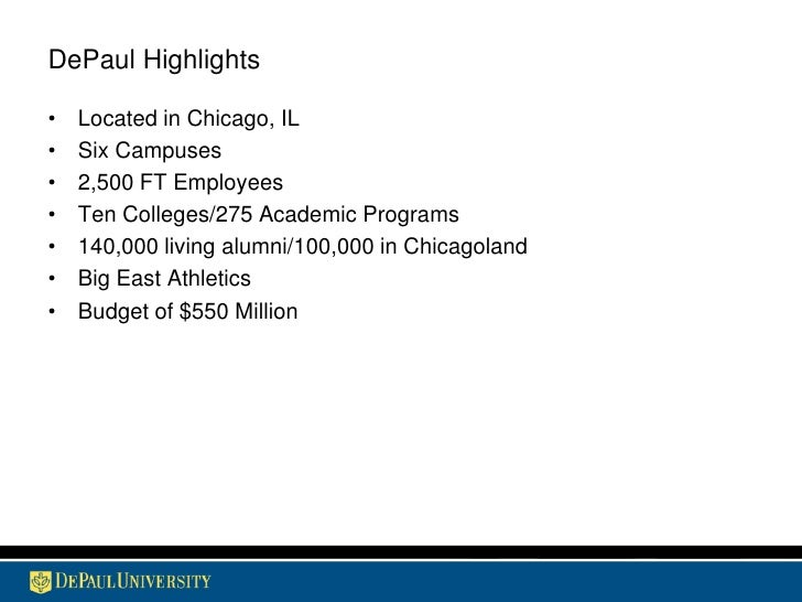 Knowing What We Are: The DePaul Brand Slide 3