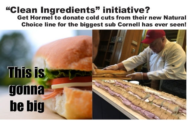 """""""Clean Ingredients"""" initiative? Get Hormel to donate cold cuts from their new Natural Choice line for the biggest sub Corn..."""