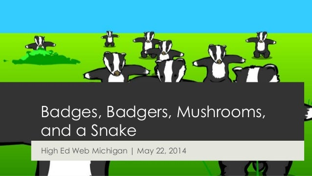 Badges, Badgers, Mushrooms, and a Snake High Ed Web Michigan   May 22, 2014