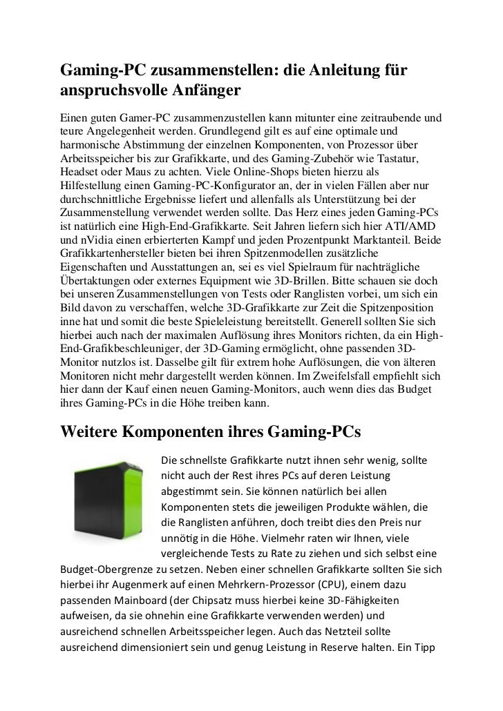 Gaming-PC zusammenstellen: die Anleitung füranspruchsvolle AnfängerEinen guten Gamer-PC zusammenzustellen kann mitunter ei...