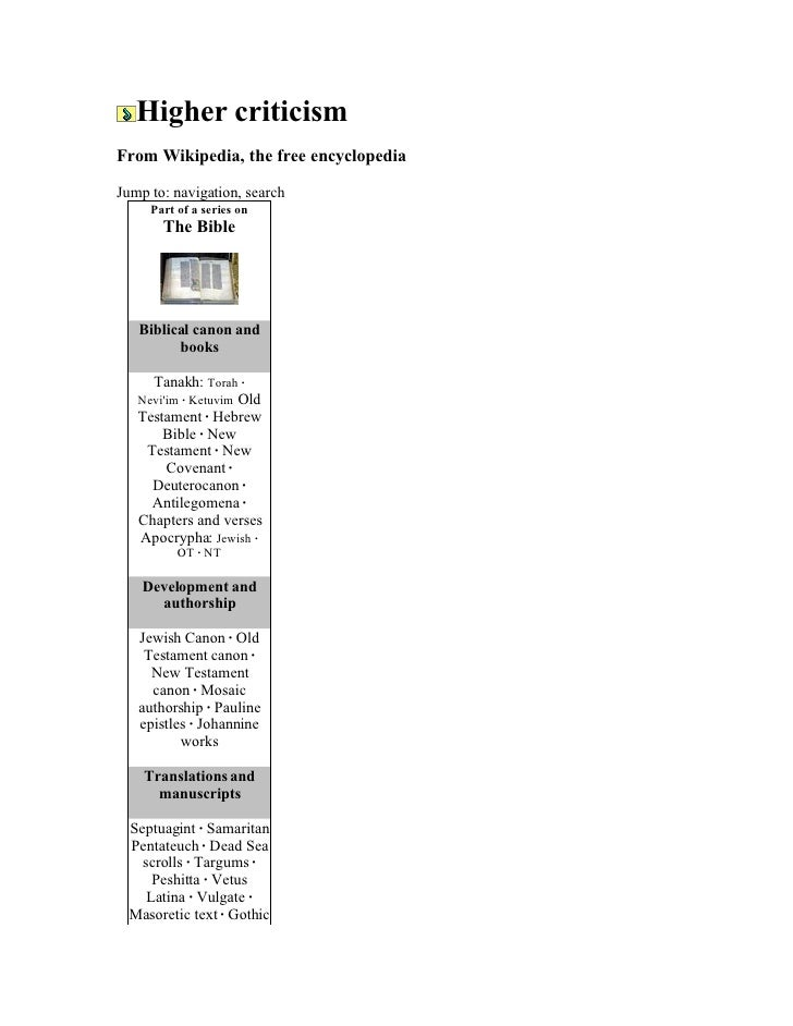 Higher criticism From Wikipedia, the free encyclopedia  Jump to: navigation, search      Part of a series on        The Bi...