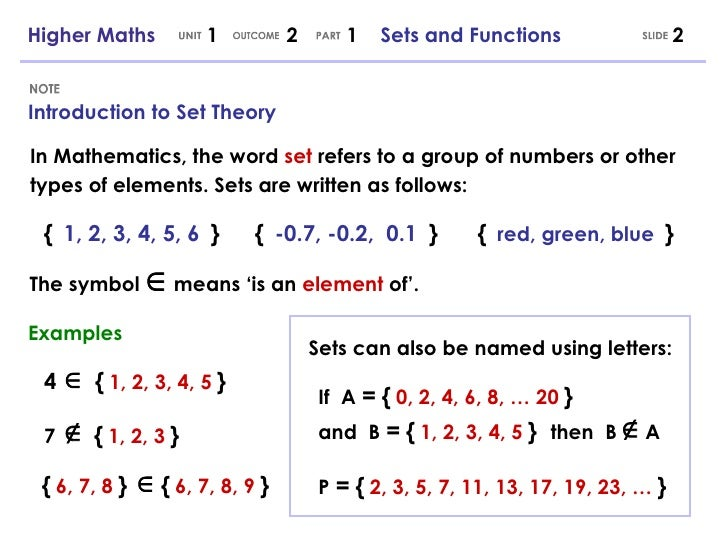 Higher Maths 121 Sets And Functions