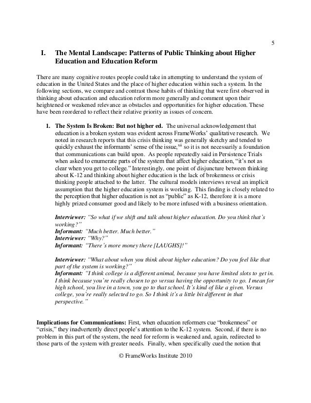 5 I.    The Mental Landscape: Patterns of Public Thinking about Higher       Education and Education ReformThere are many ...