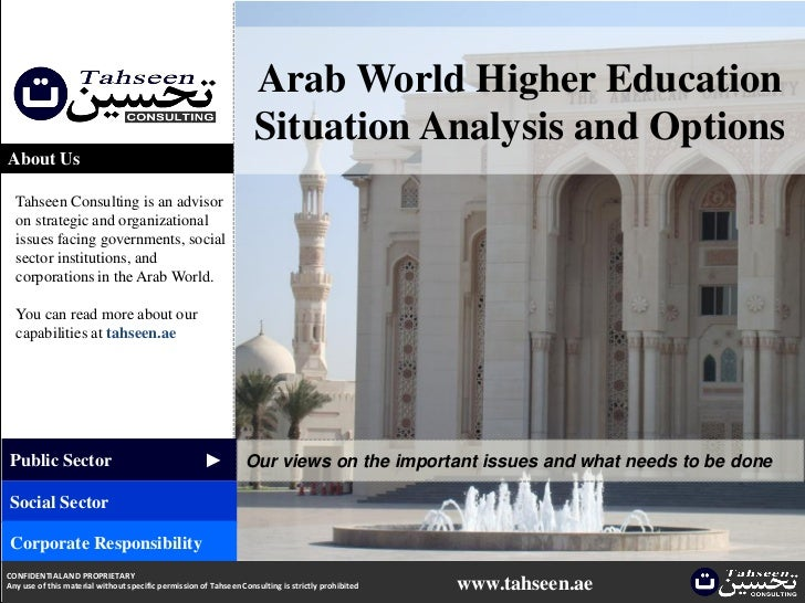 Arab World Higher Education                                                                    Situation Analysis and Opti...