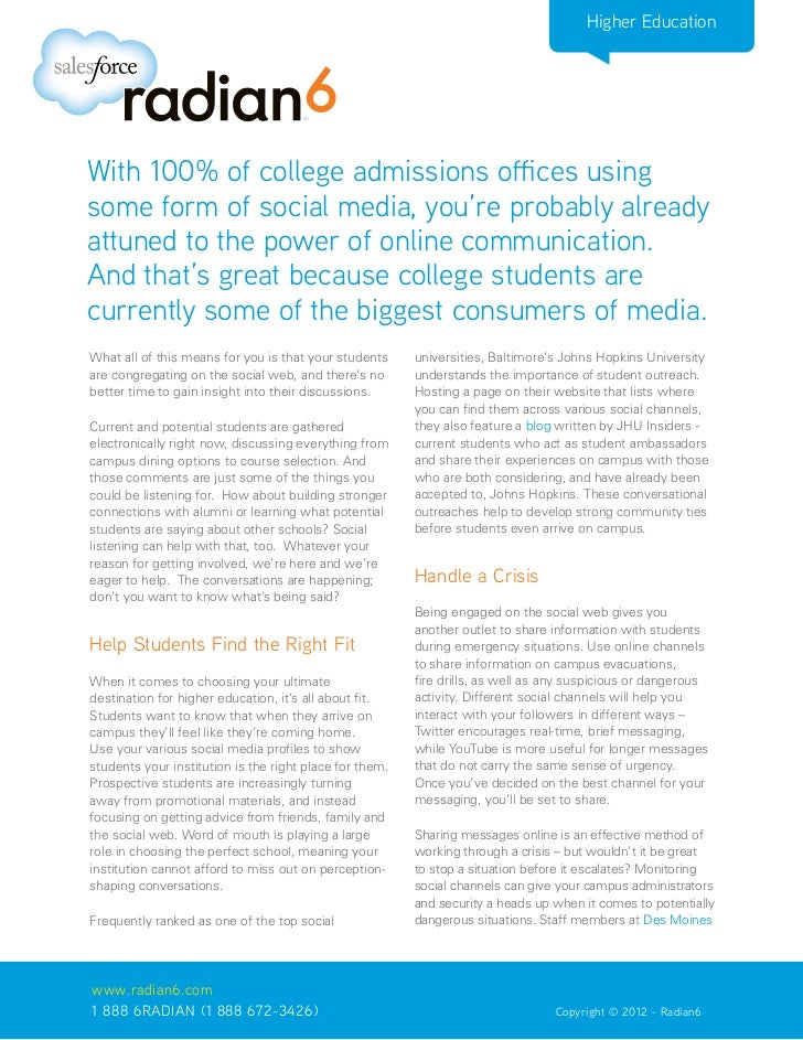 Higher EducationWith 100% of college admissions offices usingsome form of social media, you're probably alreadyattuned to ...