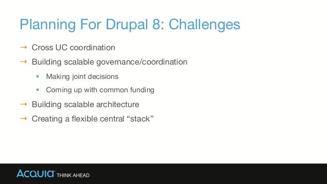 Planning For Drupal 8: Challenges → Cross UC coordination → Building scalable governance/coordination § Making joint d...