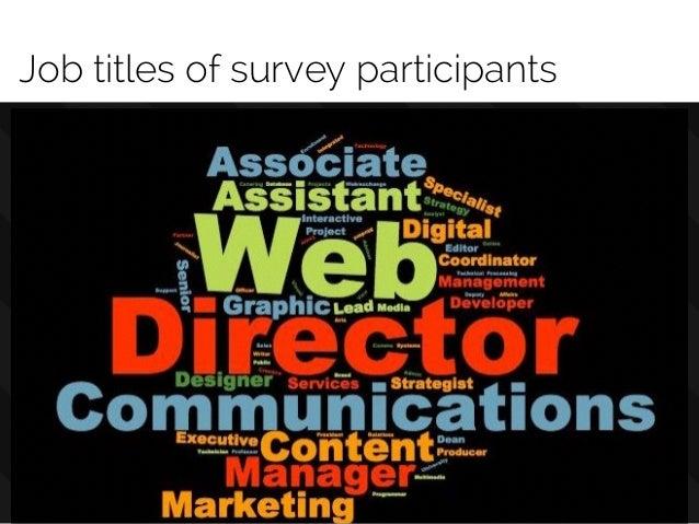 @rdelaudeRachel DeLauder Job titles of survey participants