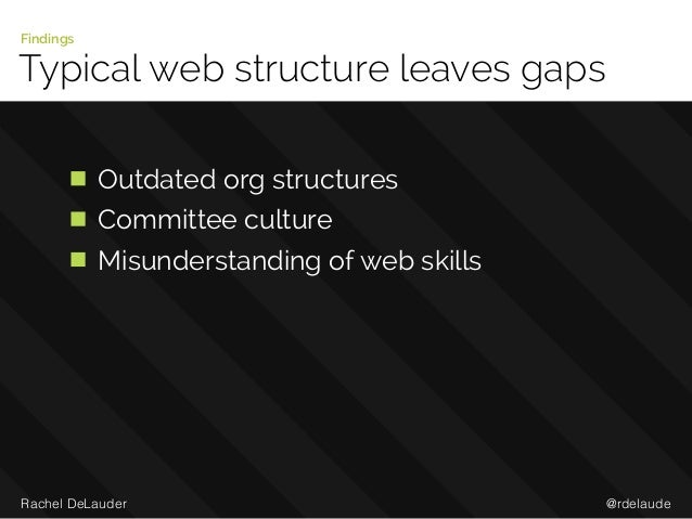 @rdelaudeRachel DeLauder Typical web structure leaves gaps Findings Outdated org structures Committee culture Misunderstan...