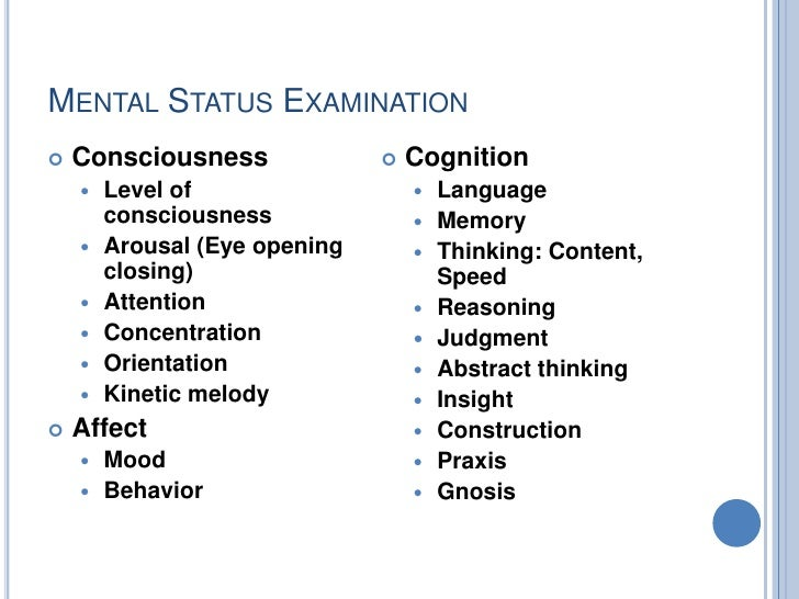 Higher Mental Function Examination