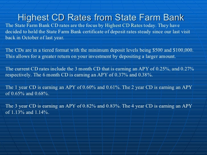 Highest cd rates from state farm bank